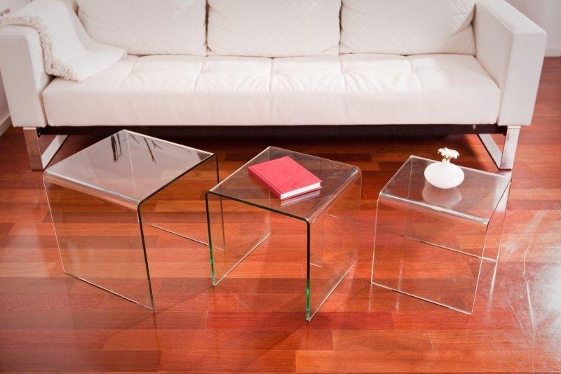 Stolik szklany PRIAM TRIO transparentny - szkło