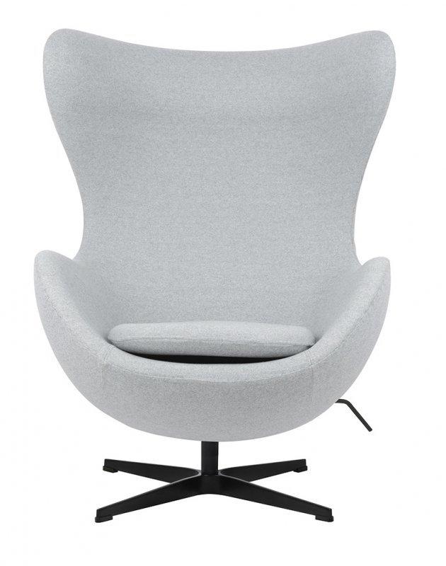 Fotel EGG CLASSIC BLACK szary melanż.17 - wełna, podstawa czarna