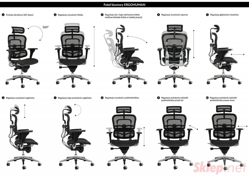Fotel biurowy ERGOHUMAN czarny - siatka, stal polerowana