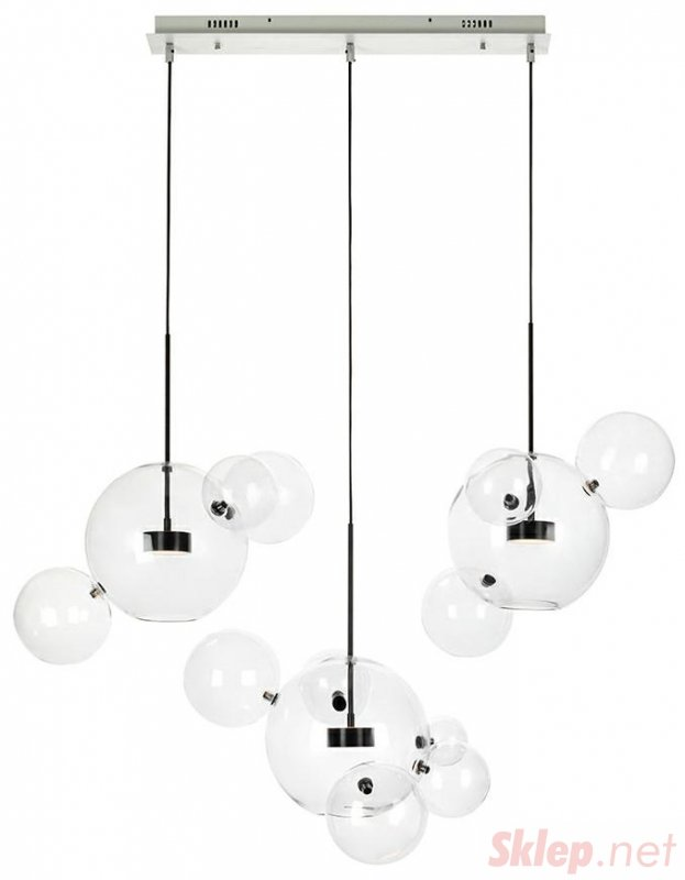 Lampa wisząca CAPRI LINE 3 czarna - 180 LED, aluminium, szkło