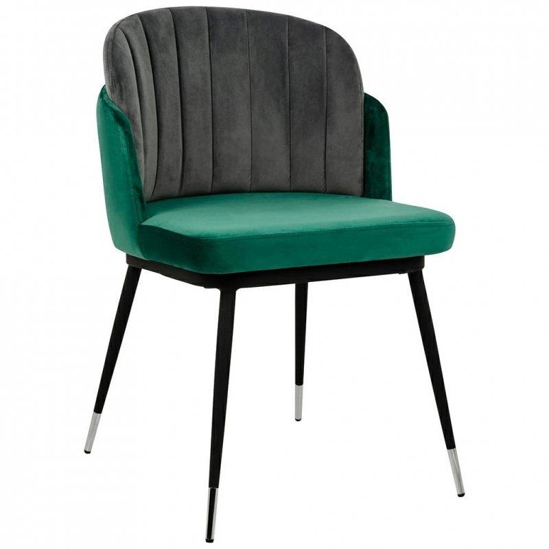 Krzesło MARCEL zielono szare - welur, podstawa czarno-srebrna