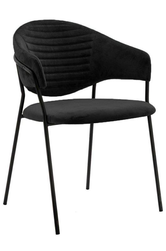 Krzesło NAOMI czarny - welur, podstawa czarna