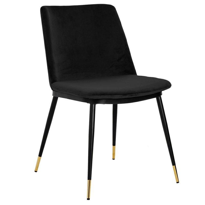 Krzesło DIEGO czarne - welur, podstawa czarno złota