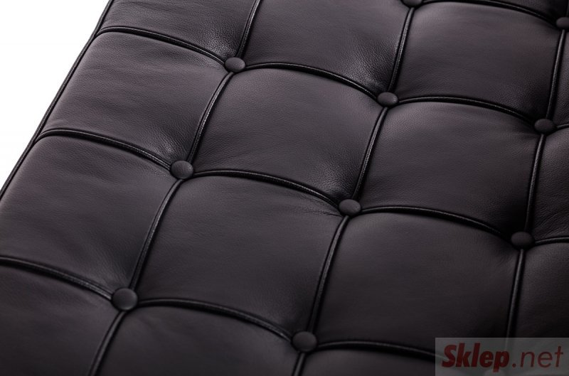 Fotel BARCELON PRESTIGE czarny - włoska skóra naturalna, stal polerowana