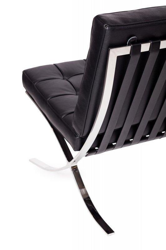 Fotel BARCELON PRESTIGE PLUS czarny - włoska selekcjonowana skóra naturalna, stal polerowana