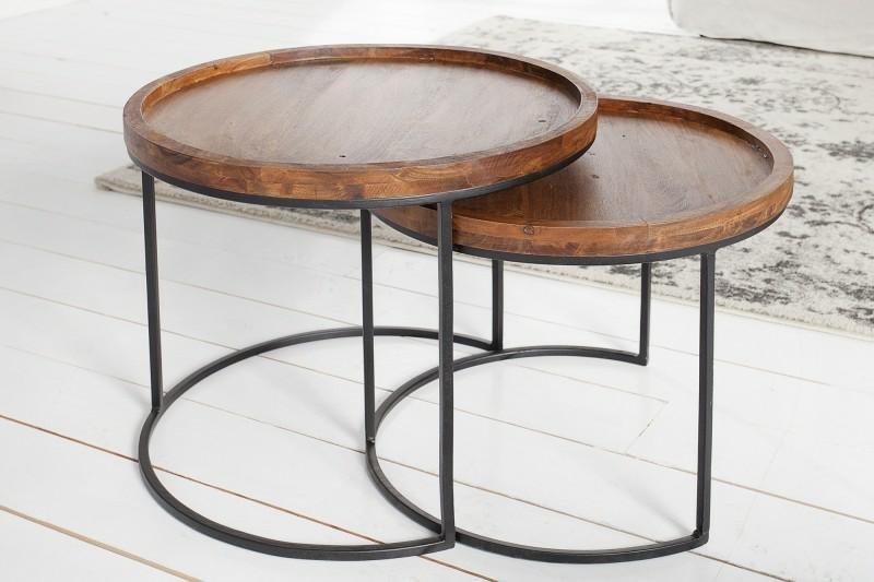 INVICTA zestaw stolików MAKASSAR - lite drewno akacji, podstawa metalowa
