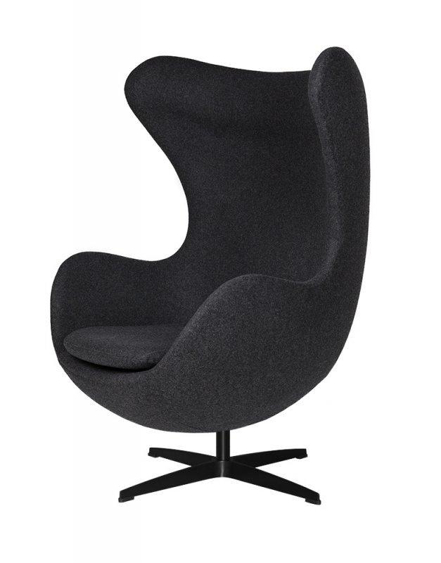 Fotel EGG CLASSIC BLACK z podnóżkiem - ciemny szary.5 - wełna, podstawa czarna