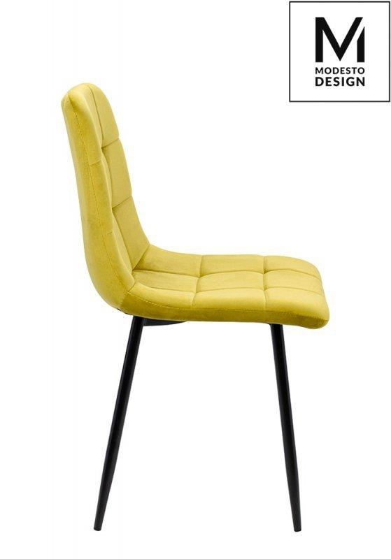 MODESTO krzesło CARLO musztardowe - welur, metal