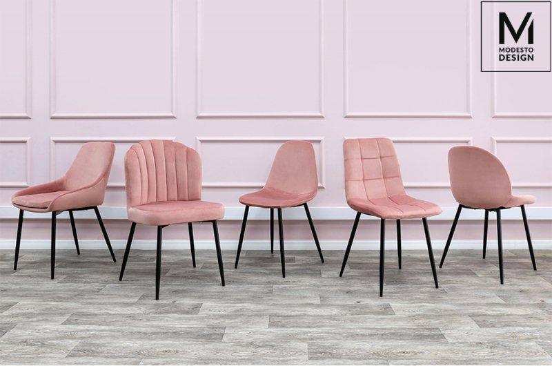 MODESTO krzesło CARLO pudrowy róż - welur, metal