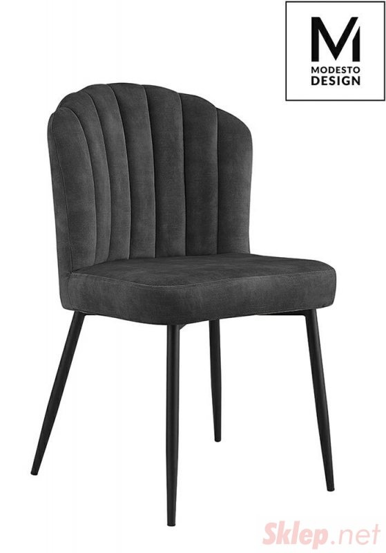 MODESTO krzesło RANGO czarne - welur, metal