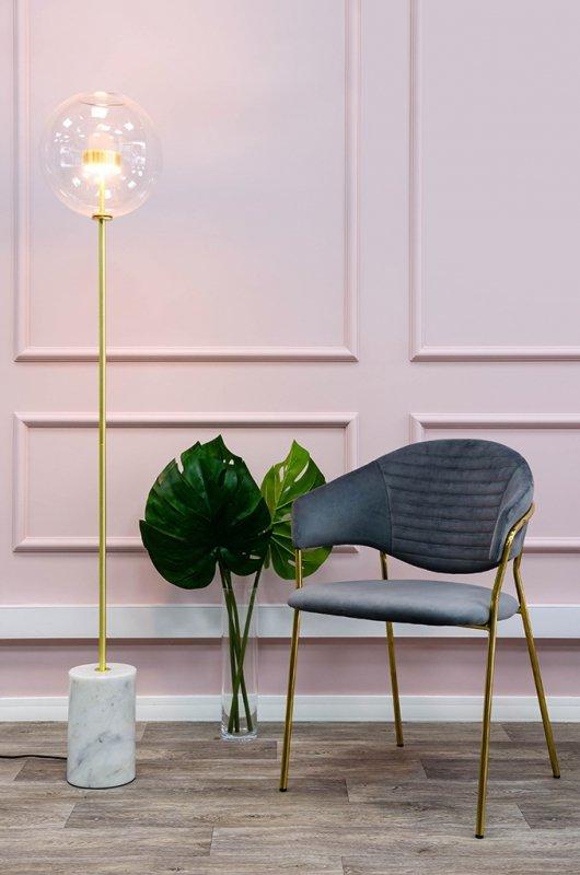 Krzesło NAOMI ciemny szary - welur, podstawa złota