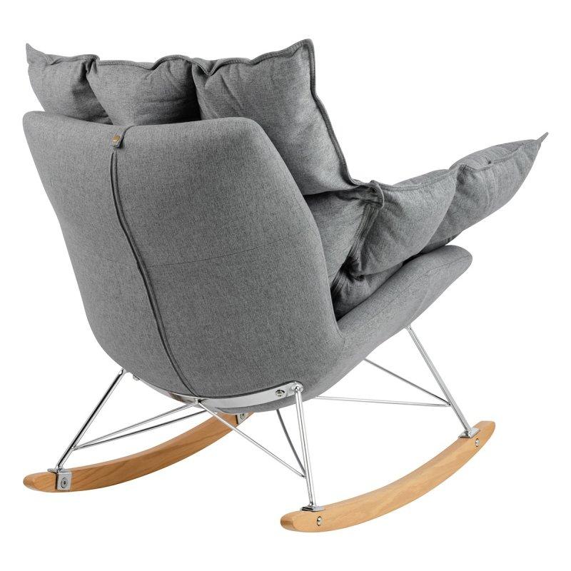 Fotel bujany SWING ciemny szary - tkanina, stal, drewno bukowe