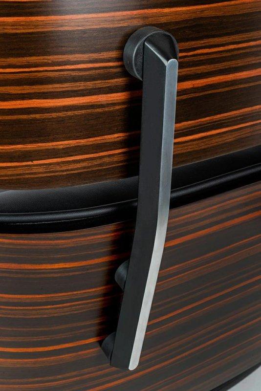 Fotel biurowy LOUNGE GUBERNATOR czarny - sklejka różana, skóra naturalna, stal polerowana