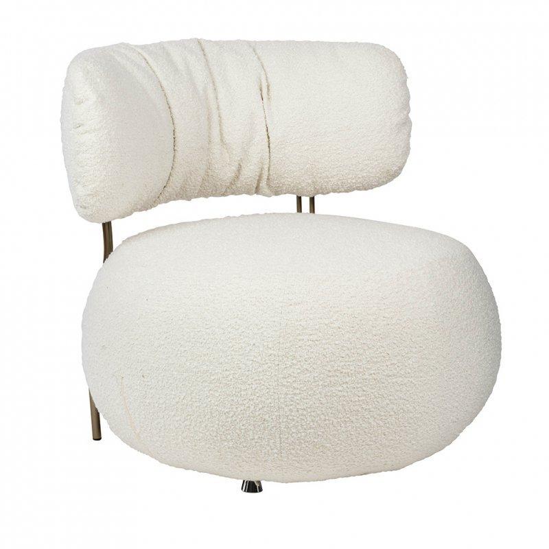 Fotel LOW TEDDY biały - tkanina teddy, podstawa mosiądz