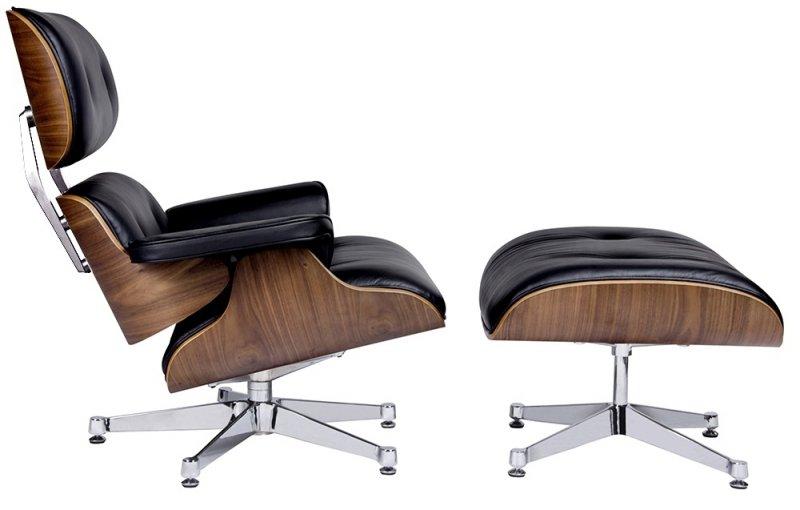 Fotel LOUNGE VA PREMIUM SZEROKI czarny z podnóżkiem - sklejka orzech, skóra naturalna