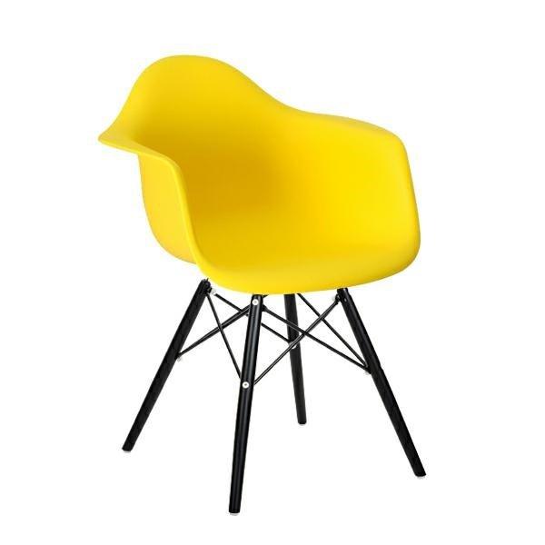 Fotel DAW BLACK słoneczny żółty.09 - polipropylen, podstawa drewniana czarna