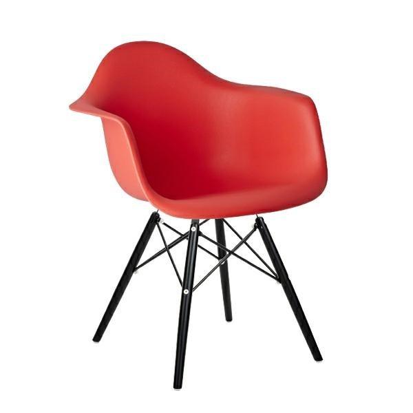 Fotel DAW BLACK krwista czerwień.06 - polipropylen, podstawa drewniana czarna