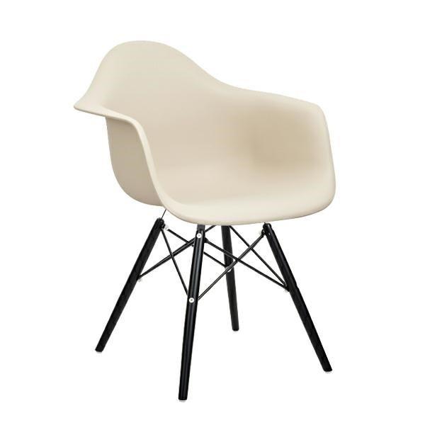 Fotel DAW BLACK beżowy.18 - polipropylen, podstawa drewniana czarna