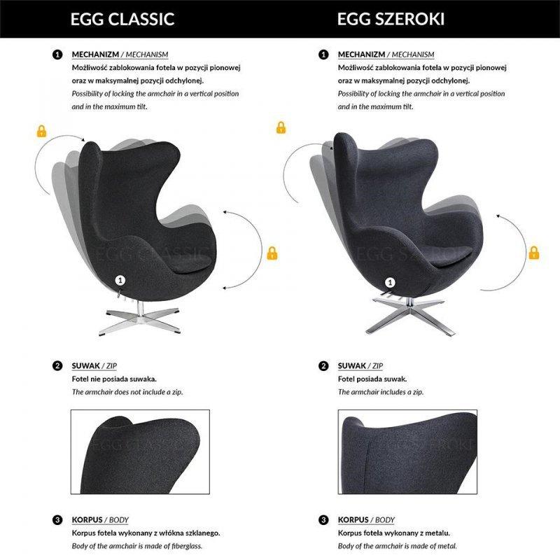 Fotel EGG SZEROKI BLACK szary.18 - wełna, podstawa czarna
