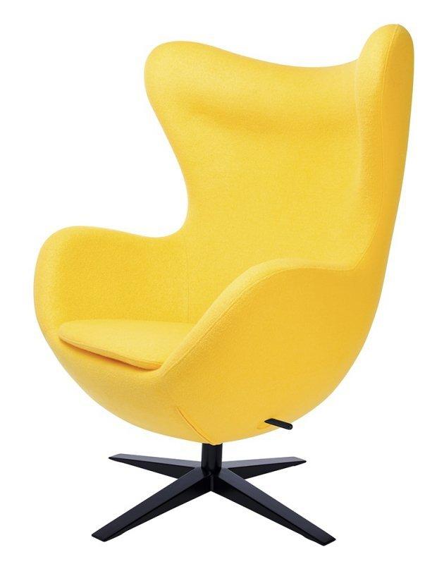 Fotel EGG SZEROKI BLACK żółty.5 - wełna, podstawa czarna
