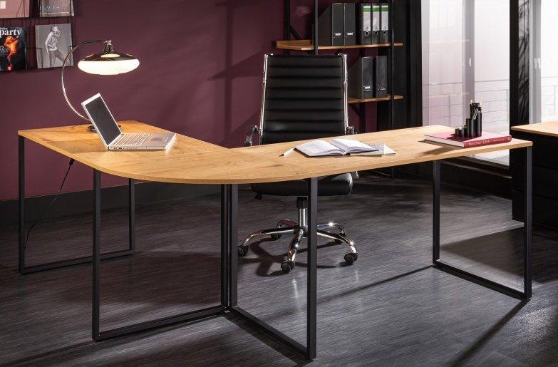 INVICTA biurko narożne BIG DEAL dębowe - MDF, metal czarny