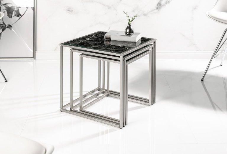 INVICTA zestaw stolików ELEMENTS 3 czarne szkło - imitacja marmuru