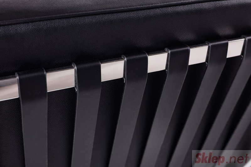 Sofa BARCELON PRESTIGE PLUS czarna - włoska selekcjonowana skóra naturalna, stal polerowana