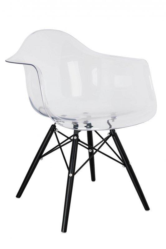 Fotel ICE WOOD BLACK transparentny - poliweglan, podstawa drewniana czarna