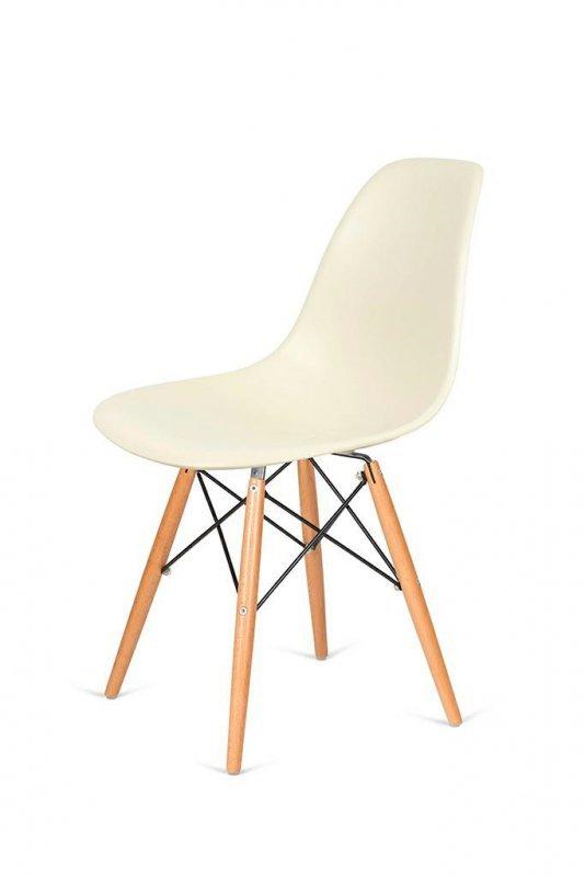 Krzesło DSW WOOD migdał imitacja drewna - podstawa drewniana bukowa