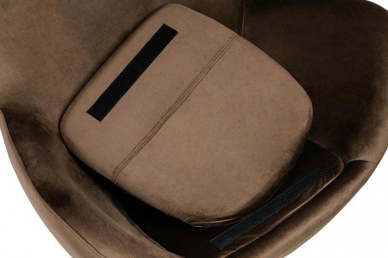 Fotel EGG SZEROKI VELVET BLACK ciemny brąz.81 - welur, podstawa czarna