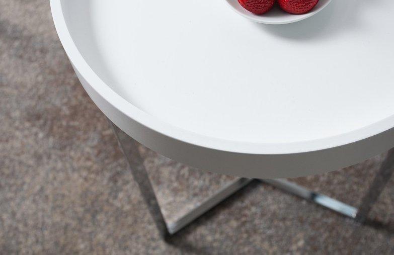 INVICTA stolik MODULAR 40 biały - podstawa chromowana