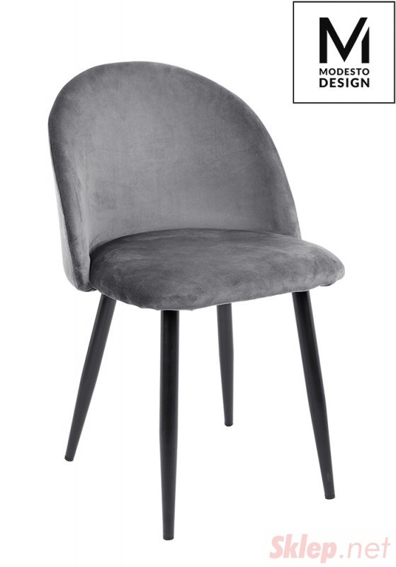 MODESTO krzesło NICOLE szare - welur, metal