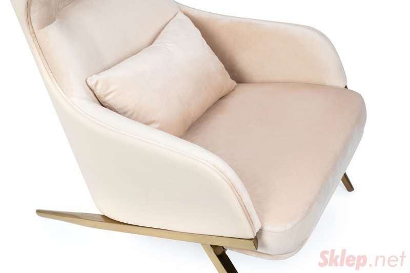 Fotel HAMPTON VELVET beżowy, ekoskóra beżowa - złota podstawa
