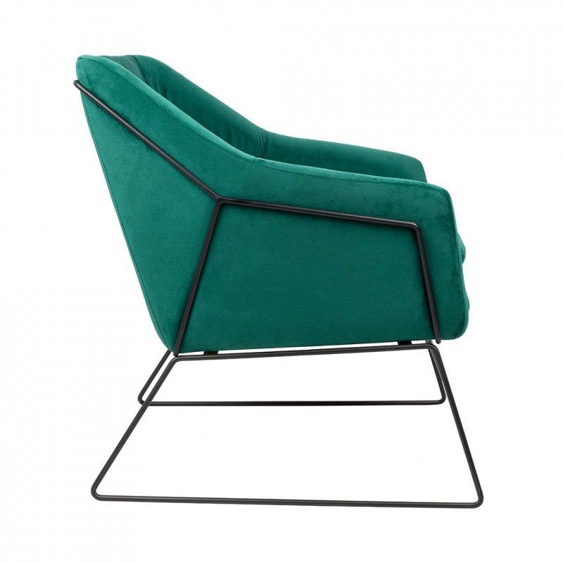 Fotel EMMA VELVET ciemny zielony welur - podstawa czarna