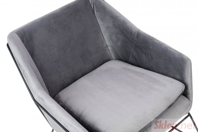 Fotel EMMA VELVET ciemny szary welur - podstawa czarna