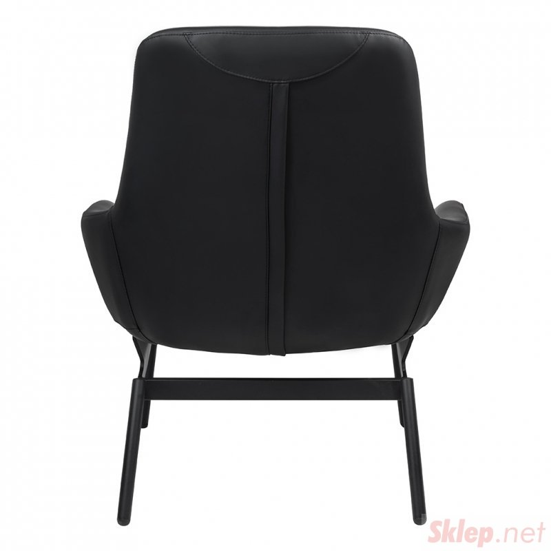 Fotel LAZY czarny - ekoskóra, podstawa czarna