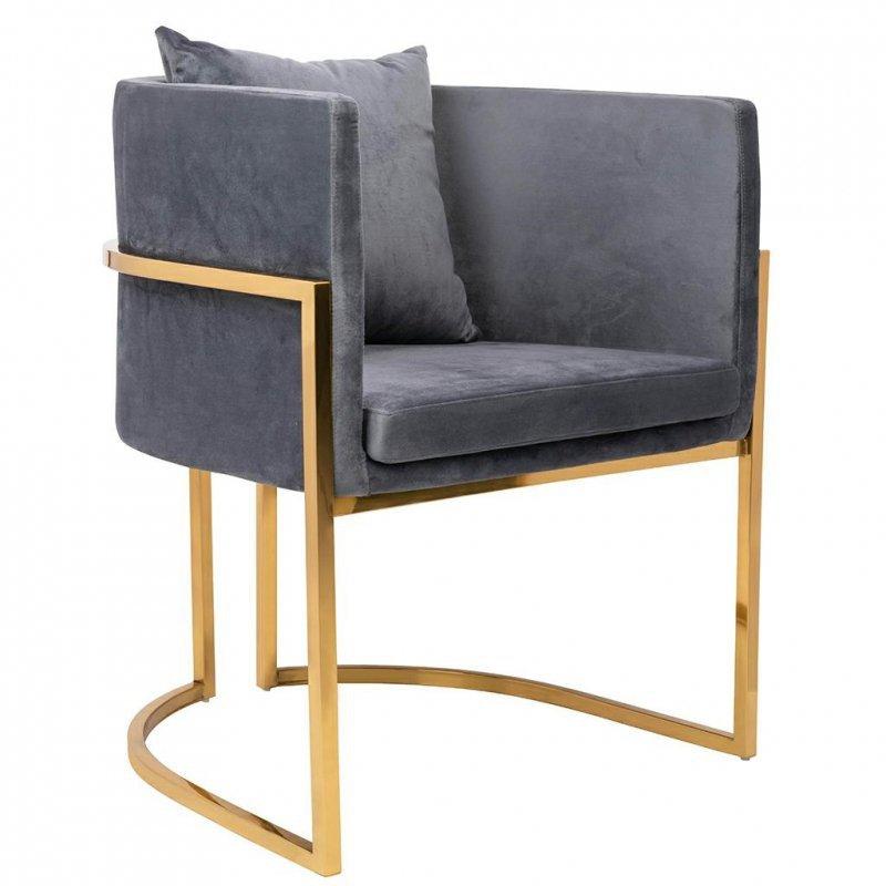 Fotel CHLOE VELVET ciemny szary welur - chrom podstawa złota
