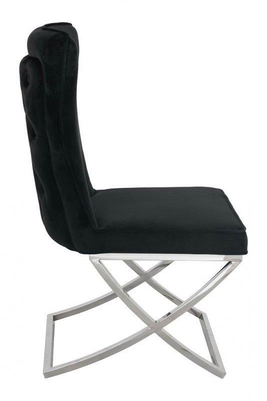 Krzesło IMPERIAL czarne - welur , stal polerowana
