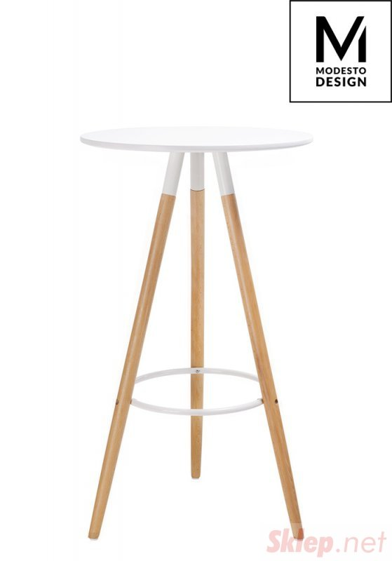MODESTO stolik barowy DIPP biały - blat MDF, podstawa bukowa