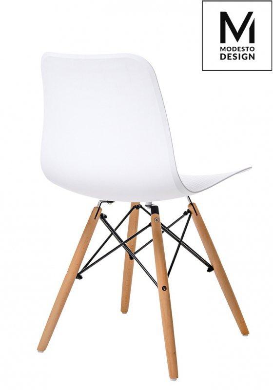 MODESTO krzesło KRADO WOOD białe - polipropylen, podstawa bukowa