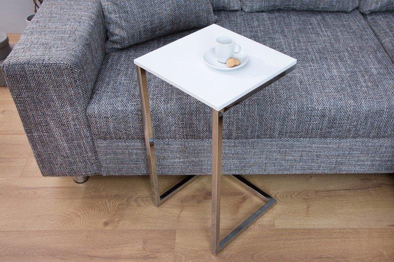 INVICTA stolik SIMPLY biały - podstawa chormowana