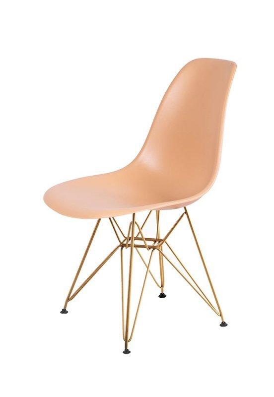 Krzesło DSR GOLD ciepły kremowy.32 - podstawa metalowa złota