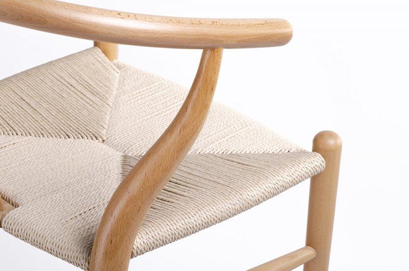 Hoker WISHBONE natural - drewno bukowe, naturalne włókno