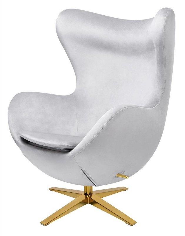 Fotel EGG SZEROKI VELVET GOLD jasny szary.37 - welur, podstawa złota