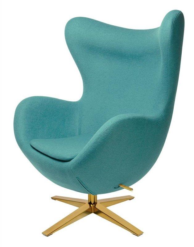 Fotel EGG SZEROKI GOLD turkusowy.12 - wełna, podstawa złota