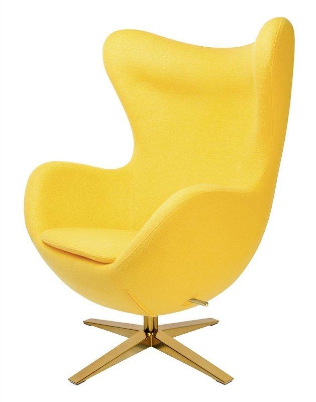 Fotel EGG SZEROKI GOLD żółty.5 - wełna, podstawa złota