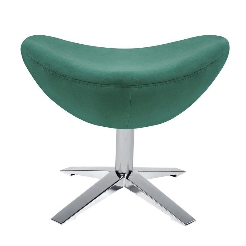 Fotel EGG SZEROKI VELVET z podnóżkiem ciemny zielony.18 - welur, podstawa stal