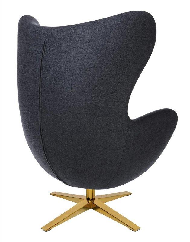 Fotel EGG SZEROKI GOLD z podnóżkiem ciemny szary.27 - wełna, podstawa złota