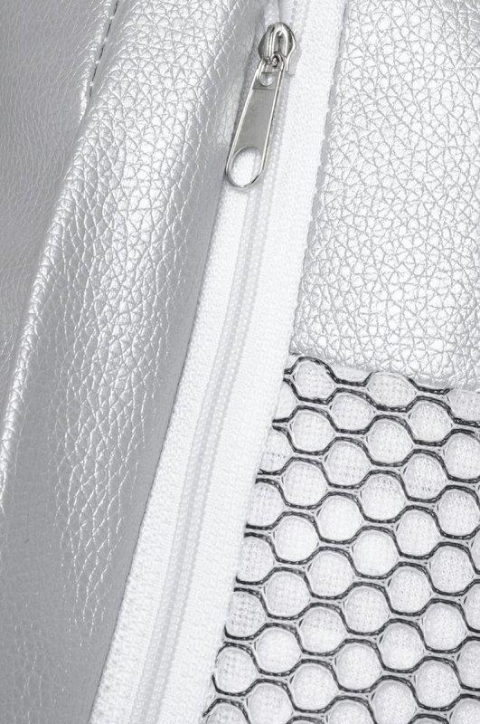 Fotel BUBBLE STAND poduszka srebrna - podstawa chrom, korpus akryl, poduszka ekoskóra