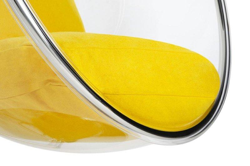 Fotel BUBBLE STAND poduszka żółta - podstawa chrom, korpus akryl, poduszka wełna